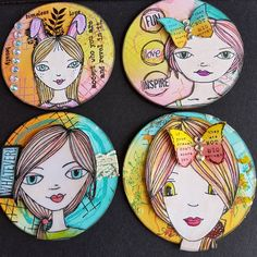 A set of Trading Coins faces are by Clare Lloyd and Paperartsy