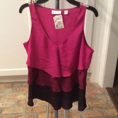 Sleeveless Blouse Ruffles in various shades of fuschia, fun top to wear with jeans! New York & Company Tops Blouses