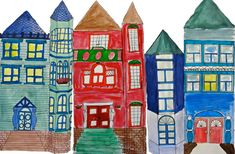 Painted Victorian Homes Art Lessons - Deep Space Sparkle Victorian History, Victorian Art, Victorian Homes, Victorian Architecture, Architecture Art, Education Architecture, Diorama, Deep Space Sparkle, 6th Grade Art