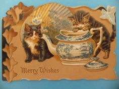 Victorian CATS TUCK Blue & White Willow Pattern Teapot Christmas Card. Helena Maguire.