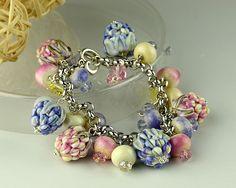 Lampwork Glass Bracelet  with respberries by FireMonkeyCreations