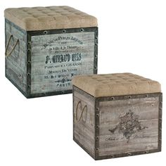 French Wine Crate Ottomans