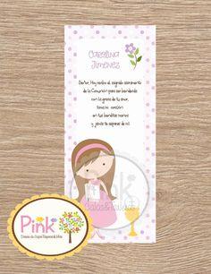 First Communion Favor Cards • Bookmark • Baptism Girl • Recuerdo de Primera Comunion Niña