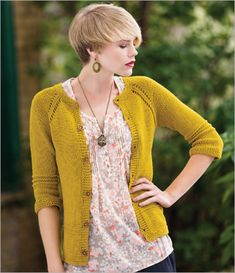 """""""Lodi Cardigan"""" Knitting Pattern: Women's top-down raglan cardigan with garter stitch edges and garter ridge accents. Worked as one piece with knitted in buttonholes."""