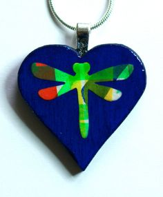 Heart Pendant Dragonfly Painted Heart Pendant Art by Larryware