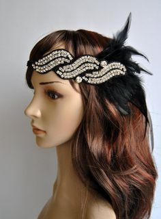 Flapper Feather Headband, The Great Gatsby Headband, 20s, Vintage Inspired, 1920's, 1930's, Feather, rhinestone