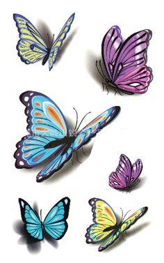 3d butterfly tattoos for women | 3D Butterfly Pattern for Women Waterproof Tattoo Body Art Temporary ...