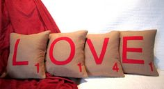 Scrabble pillows~ spread your LOVE in every corners of the house