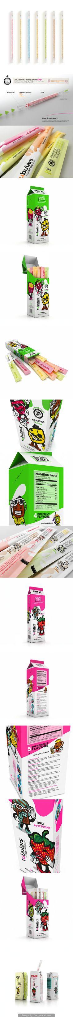 Tubulars Milk Flavoring Straws Milk Packaging, Brand Packaging, Plastic Design, Straws, Package Design, Decoration, Creative, Latte, Packing