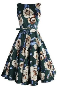 Love the Oversized Floral Pint! Vintage Style Sleeveless High Waist Floral Print Pleated Dress For Women #Oversized #Floral #Print #Vintage #Style #Flare #Dress