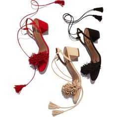 Aquazzura Wild Thing Fringe City Sandal ($840) ❤ liked on Polyvore featuring shoes, sandals, fringe shoes, fringe sandals, ankle strap shoes, toe strap sandals and mid-heel sandals