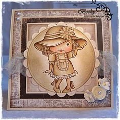 """Monochrome card by DT Member Becky Hetherington, using papers from Maja Design's """"Vintage Summer Basics"""" collection and a Lalaland image."""