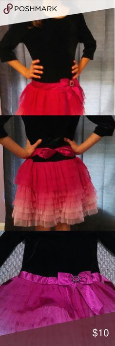 Precious black and pink dress Black felt top with multi-colored tulle skirt. No visible wear or tear. Questions or concerns, please ask! Happy poshing ?? Dresses Formal
