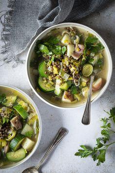 Soupe de poireaux, pommes de terre et lentilles - K pour Katrine