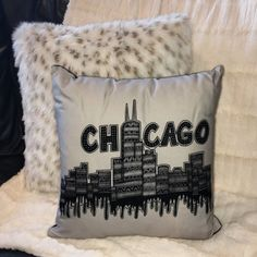 Chicago Double-Sided Cotton Pillow  Chicago by BritneyElizabethArt