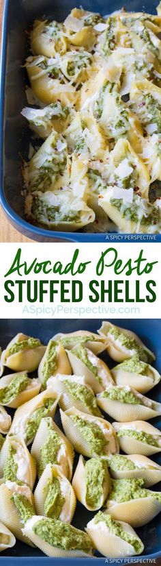 Healthy Avocado Recipes - Avocado Pesto Stuffed Shells - Easy Clean Eating Recipes for Breakfast, Lunches, Dinner and even Desserts - Low Carb Vegetarian Snacks, Dip, Smothie Ideas and All Sorts of Diets - Get Your Fitness in Order with these awesome Paleo Detox Plans - thegoddess.com/healthy-avocado-recipes