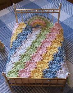Miniature Crochet Dollhouse Bedspread/Coverlet/Blanket Pastel YoYo's