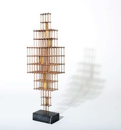 Large Curtis Jere Architectural Brass Rod Sculpture | From a unique collection of antique and modern sculptures at http://www.1stdibs.com/furniture/more-furniture-collectibles/sculptures/