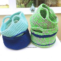 Free pattern download for crochet baskets @ Made with Loops