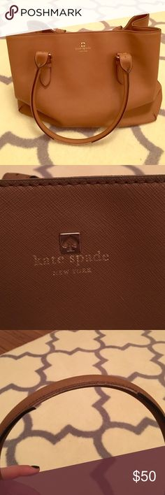 Kate spade leather purse Beautiful neutral Kate spade purse. Some discoloration of liner because of wear and some peeling on the handles but still has a lot of life! kate spade Bags Shoulder Bags