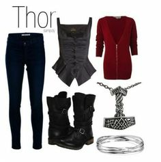 THOR from a set of Avengers themed outfits for women. Marvel Inspired Outfits, Disney Inspired Fashion, Character Inspired Outfits, Marvel Fashion, Nerd Fashion, Fandom Fashion, Cosplay Informal, Thor Outfit, Estilo Nerd