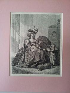 Original Antique Mounted Print, Historical Portrait Art Marie Antoinette with Children