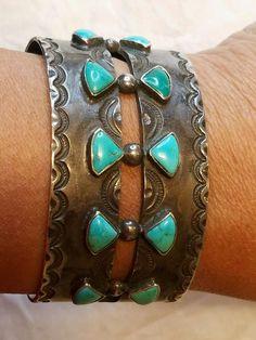 Estate Fred Harvey Era Dead Pawn Silver Turquoise Stampwork Wide Cuff Bracelet