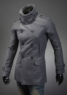 Fashion Style Turndown Collar Double-Breasted Long Sleeves Woolen Black Trench Coat For Men