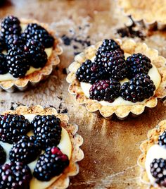 Blackberry tart with pastry cream and brown butter tart crust