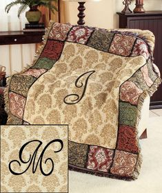 A Monogram Tapestry Throw is perfect for display over a sofa or chair, or even as a wall hanging. Elegant throw is surrounded by a border of ornate tapestry panels in rich colors.