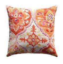 Ali Baba Tangerine Outdoor Ikat Throw Pillow in Orange, Magenta, Yellow, Ivory