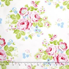 Rambling Rose - Rambling Rose White Yardage Laundry Room Curtains, Free Spirit Fabrics, Rose, Cotton, Pink, Roses, Pink Roses