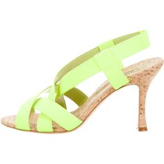 Pre-owned Manolo Blahnik Cork Slingback Sandals ($175) ❤ liked on Polyvore featuring shoes, sandals, green, cork shoes, green shoes, manolo blahnik, pre owned shoes and manolo blahnik sandals