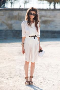 so perfect- sheer skirt, sunglasses, hair and on and on