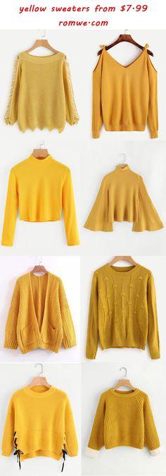yellow sweaters 2017 - romwe.com