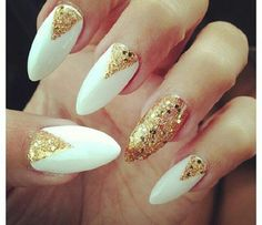 Nail art design fall mint cute tutorial diy winter nail art elegant looking white and gold nail art design using white nail polish as the base color gold glitter is then used on top to for v like shapes prinsesfo Choice Image
