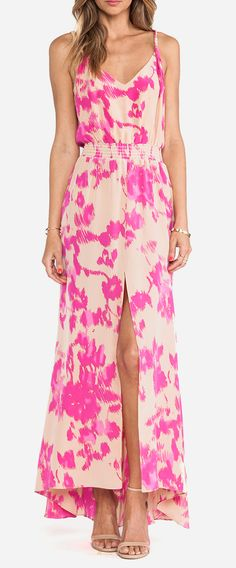 Not into pink but this is crazy yes ! Karina Grimaldi Jamaica Print Maxi Dress in Almond Flower