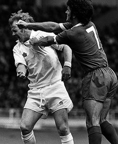 Billy Bremner of Leeds and Kevin Keegan of Liverpool come to blows in the 1974 Charity Shield Final.
