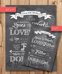Love not the world Chalkboard Wall Art Bible Verse by AtYourDesign