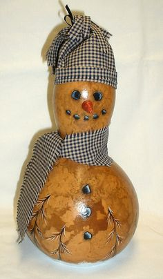 Primitive Snowman Gourd Hand Painted Gourd by FromGramsHouse, $23.00