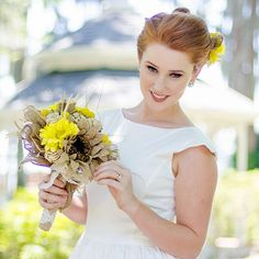 FREE SHIPPING- Rustic Barn Wedding Bouquet Bridal Bouquet Burlap Sunflower OOAK- Ready to Ship