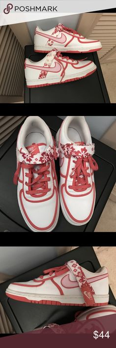 Nike sneakers Really cute Nike sneakers with floral print and Velcro! Worn a couple times, still in great condition! Very rare! Size 5.5 youth. Will fit women's size 7/7.5. Nike Shoes Sneakers