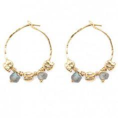 Créoles Marrakech Stephanie Jewels | Boucles d'oreilles gold filled et labradorites