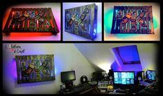 Realization of a lightning frame on the DJ theme out of one repurposed pallet. Industrial style, plexiglass protective plate. Ideal to put some color on the walls! Réalisation d'un tableau lumineux en palette sur le Thème DJ. Effet industriel , plaque en plexiglass de protection. Idéal pour mettre un peu de couleur sur les murs! #Art, #PalletDecoration, #PalletLight, #RecyclingWoodPallets, #Wood #PalletWallDecorPalletPainting