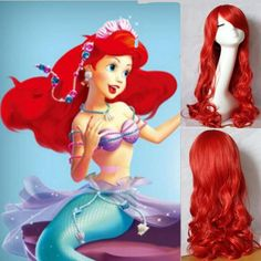 THE LITTLE MERMAID ARIEL Curly wave red wigs cosplay wig anime peluca hair Top korean hairnet kanekalon cabelo synthetic hair * For more information, visit image link.