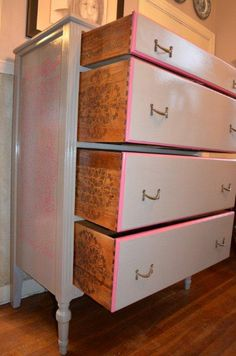 Vintage hand painted dresser with coral stencil by JustSaynArt