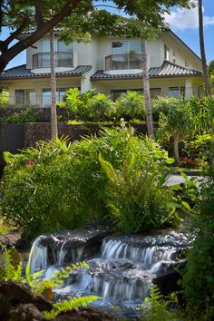 A water feature enhances the natural beauty of this tropical garden.  Kai Malu at Wailea, Maui