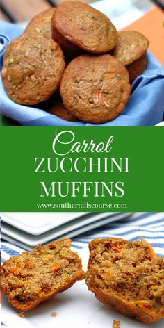 Delicious Carrot Zucchini Muffins with Walnuts – a southern discourse Loaded with shredded zucchini, carrots and crunchy walnuts, these lightly sweet & cinnamon-y Carrot Zucchini Muffins are the perfect go-to for breakfast or afternoon snack! Zucchini Breakfast, Breakfast Recipes, Dinner Recipes, Zucchini Muffin Recipes, Zucchini Carrot Muffins, Zucchini Bread, Oatmeal Muffins, Healthy Muffins, Carrots