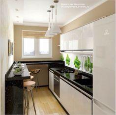 Kitchen Room Design, Home Decor Kitchen, Interior Design Kitchen, Home Kitchens, Long Kitchen, Narrow Kitchen, New Kitchen, Small Kitchen Remodel Cost, Small Apartment Kitchen