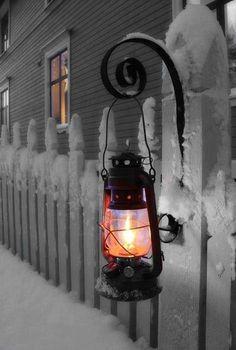 Lantern  #winter #snow #night #lantern